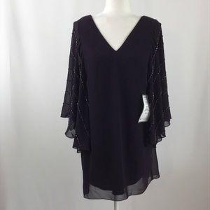 Betsy & Adam beaded sleeve purple mini dress (129)